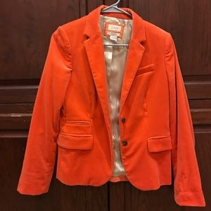 Beautiful coral J. Crew velvet/velour blazer sz 4